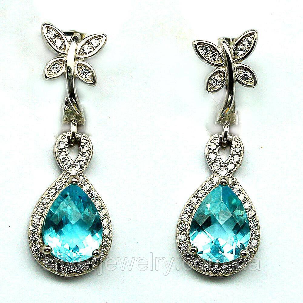 Серебряные серьги с голубым ТОПАЗОМ (натуральный!!) серебро 925 пр.