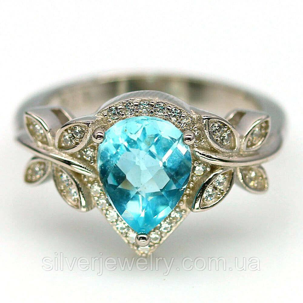 Серебряное кольцо с голубым ТОПАЗОМ (натуральный), серебро 925 пр. Размер 17