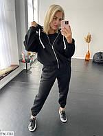 Теплий комфортний костюм спортивний жіночий вільного крою утеплений з начосом кофта на блискавці