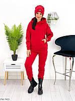 Утеплений жіночий прогулянковий костюм спортивний з шапкою на флісі худі-штани та штани арт 613