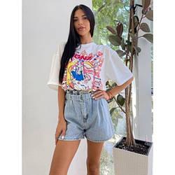 Шорти джинсові широкі з поясом на резинці