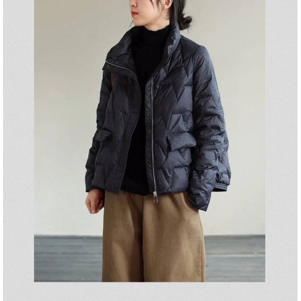 Куртка-пуховик демісезонна без капюшона на змійці zigzag