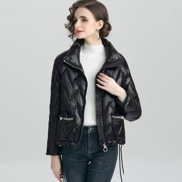 Куртка-пуховик демисезонная с твидовыми карманами