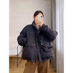 Пуховик демисезонный с поясной сумкой
