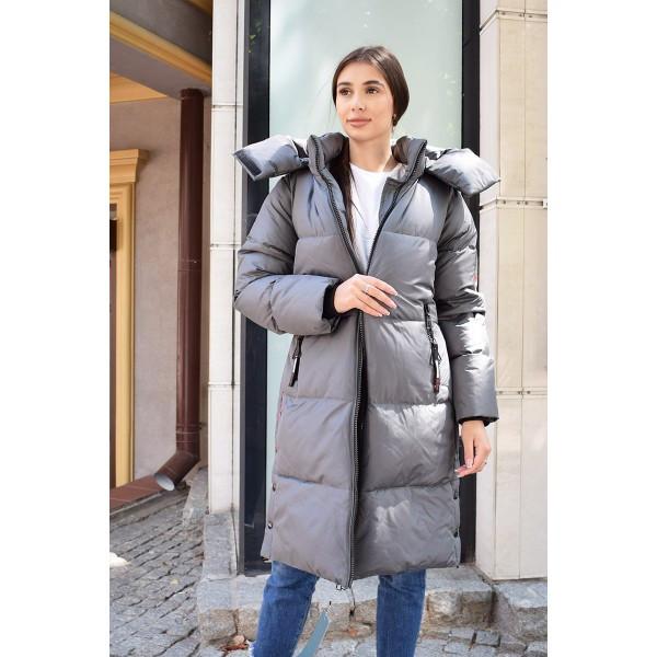 Стеганное зимове пальто на силіконі