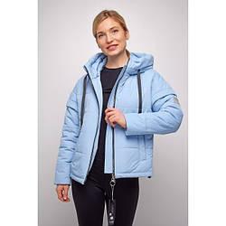 Куртка женская  укороченная свободный силуэт 2021 L, голубой