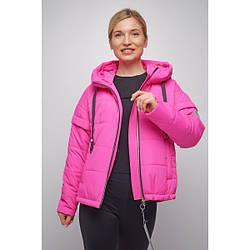 Куртка женская  укороченная свободный силуэт 2021 L, малиновый