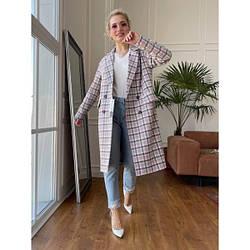 Пальто жіноче шерстяне чотирикольорового в клітку XS