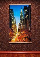 """Картина обігрівач """"Нічне місто Манхеттен"""", настінний плівковий інфрачервоний обігрівач ТРІО, фото 1"""
