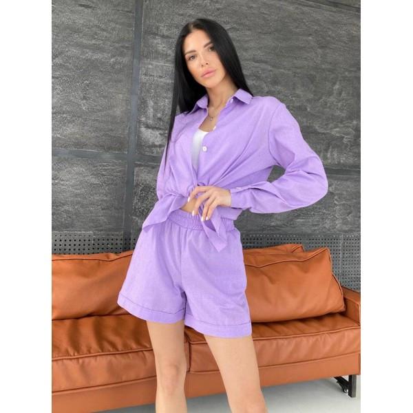 Костюм льняной с удлинённой рубашкой и шортами