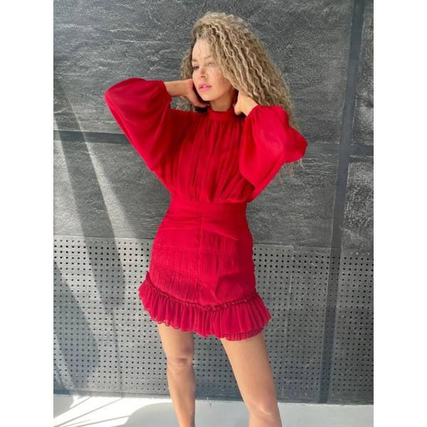Платье-мини шифоновое с пышным рукавом