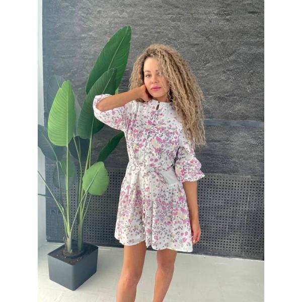 Платье летнее креповое в мелкий цветочек