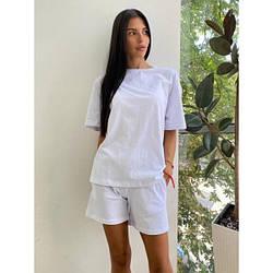 Костюм летний футболка+шорты двухнитка S, белый