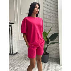 Костюм летний футболка+шорты двухнитка M, ягодный