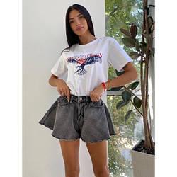 Шорти джинсові короткі кльош XL, графітовий