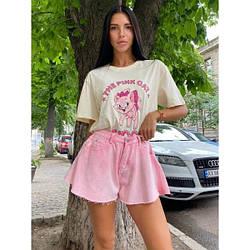 Шорти джинсові короткі кльош M, рожевий