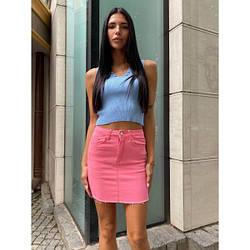 Спідниця коротка джинсова річна S, рожевий