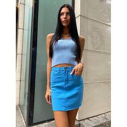Спідниця коротка джинсова річна L, синій