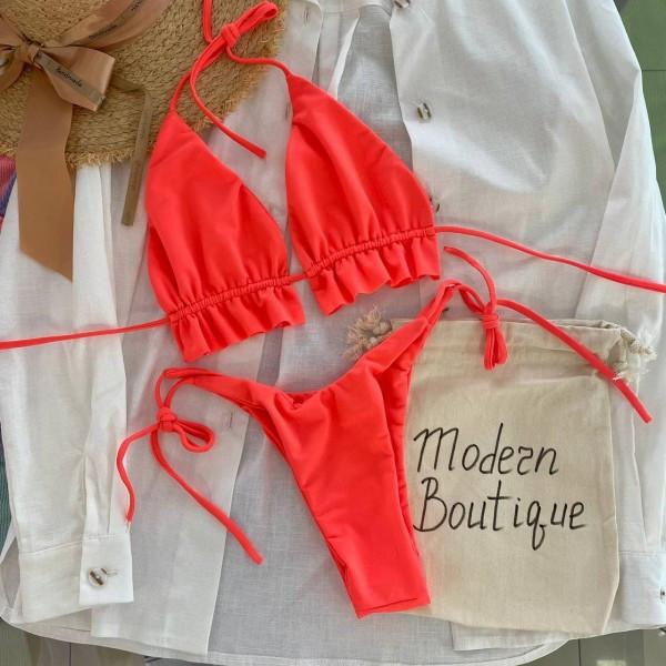 Купальник шторка с рюшами под грудью плавки на завязках