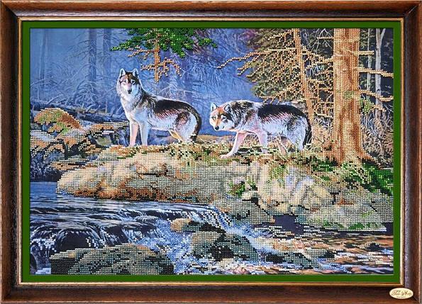 """Набор для вышивания бисером """"У реки. Волки"""", фото 2"""