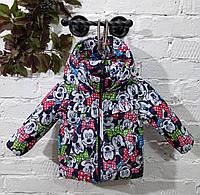 """Демисезонная курточка для маленьких девочек """"Льоля"""" принт синий Микки-маус 80-98"""