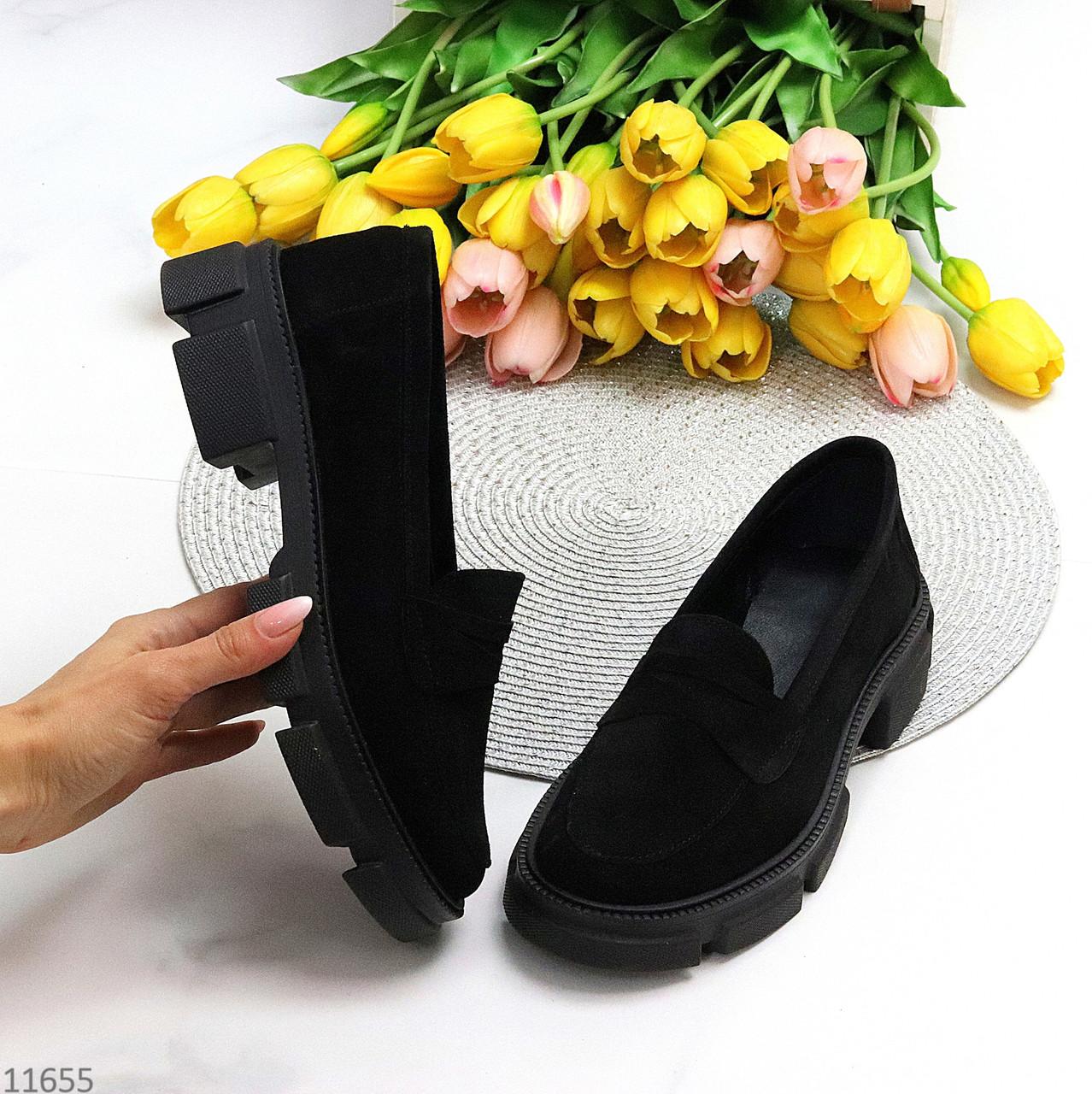 Практичні чорні замшеві туфлі лофери натуральна замша низький хід