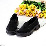 Практичні чорні замшеві туфлі лофери натуральна замша низький хід, фото 2