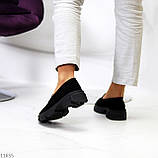 Практичні чорні замшеві туфлі лофери натуральна замша низький хід, фото 3
