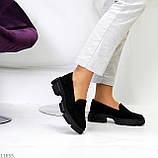 Практичні чорні замшеві туфлі лофери натуральна замша низький хід, фото 4