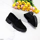 Практичні чорні замшеві туфлі лофери натуральна замша низький хід, фото 5