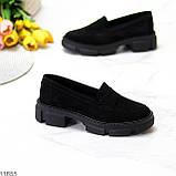 Практичні чорні замшеві туфлі лофери натуральна замша низький хід, фото 6