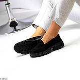 Практичні чорні замшеві туфлі лофери натуральна замша низький хід, фото 7