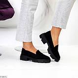 Практичні чорні замшеві туфлі лофери натуральна замша низький хід, фото 8