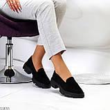Практичні чорні замшеві туфлі лофери натуральна замша низький хід, фото 9