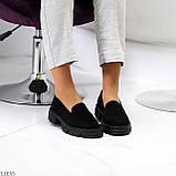 Практичні чорні замшеві туфлі лофери натуральна замша низький хід, фото 10