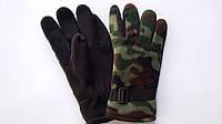 Перчатки с двойным флисом черные с камуфляжной вставкой (упаковка 10 пар), фото 1