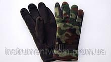 Перчатки с двойным флисом черные с камуфляжной вставкой (упаковка 10 пар)