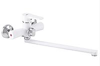 Однорукий смеситель в ванную ZERIX PUD7 146 белый поворотный кран для ванной из силуминового сплава Чехия