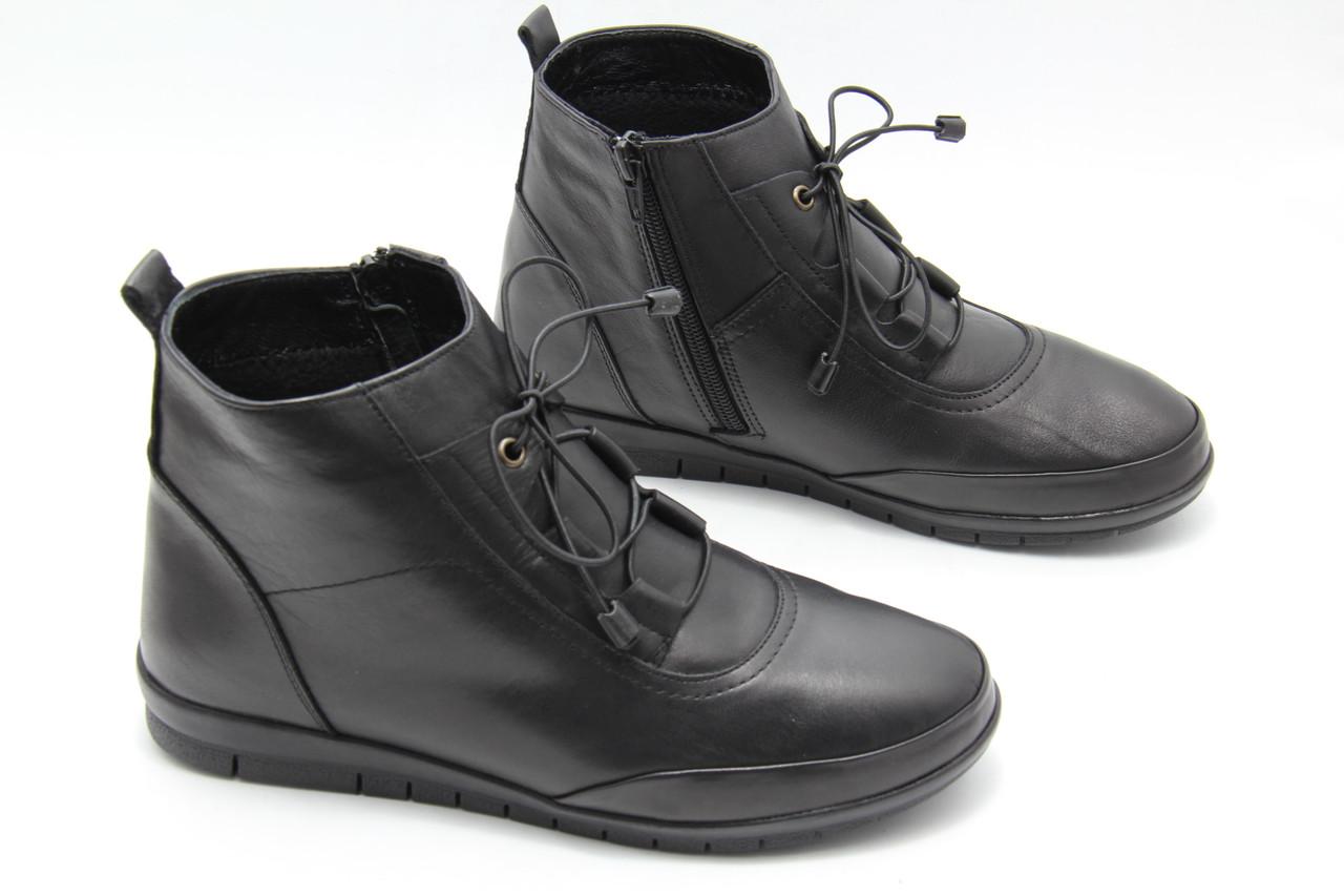 Турецкие женские  ботинки на низком ходу   829-siyah