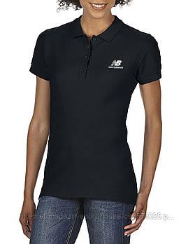 Женская хлопковая тенниска Нью Беланс (New Balance) с брендовым логотипом, реплика
