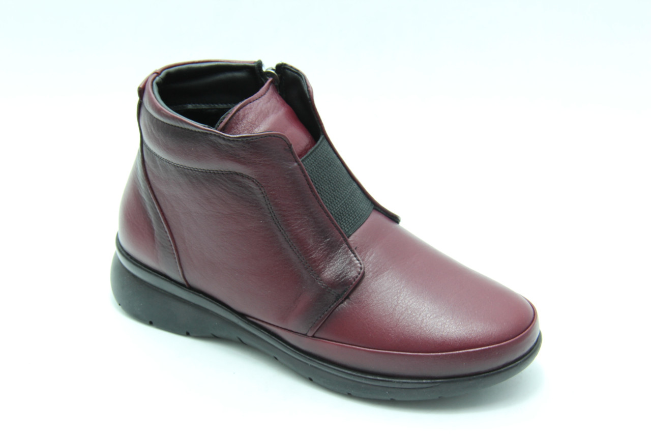 Осенние ботинки на низком ходу   206-bordo