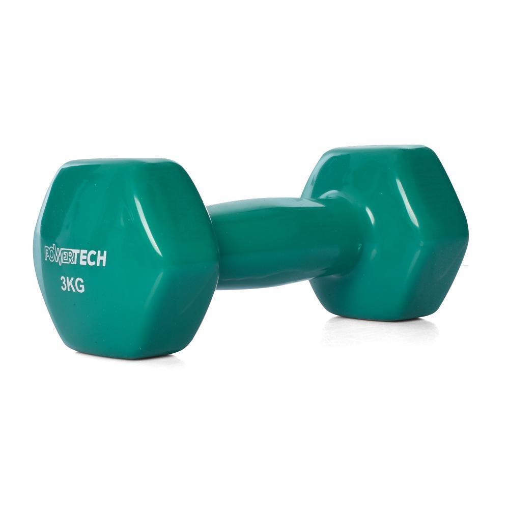Цілісні гантелі з вініловим покриттям 2 штуки по 3 кг кожна PROFI M 0291-GR, колір зелений