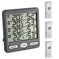 """Термогигрометр цифровой TFA """"Klima-Monitor"""", 3 внешних радиодатчика, 116x24x126 мм"""