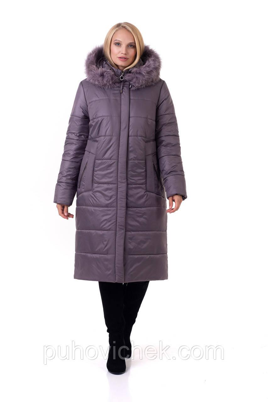 Жіноче зимове пальто з натуральним хутром на капюшоні розміри 48-66