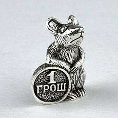 Кошельковый оберег Fisher Мышка с монетой Серебряное покрытие 1,3х0,5х1 см 24627 ZZ, КОД: 1932421