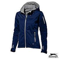Женская куртка на флисе с капюшоном от ТМ Slazenger 'Softshell Lady' размер L, синяя, красная, чёрная