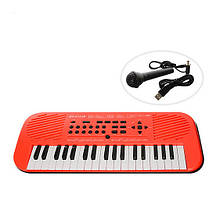 Детский музыкальный инструмент Детский синтезатор HS3755, 37 клавиш (HS3755B (Оранжевый)) игрушка