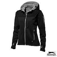 Куртка демисезонная на флисе с капюшоном от ТМ Slazenger 'Softshell Lady' размер S, синяя, красная, чёрная