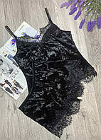 Піжама турецького мармурового велюру з мереживом шорти і майка ЧОРНИЙ