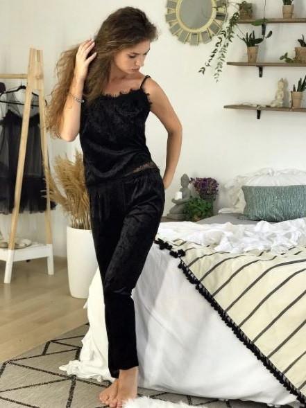 Велюровая пижама ДВОЙКА штаны и майка ЧЕРНЫЙ